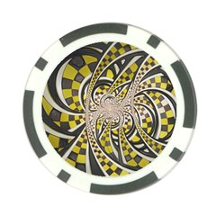 Liquid Taxi Cab, A Yellow Checkered Retro Fractal Poker Chip Card Guard (10 Pack) by jayaprime