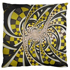 Liquid Taxi Cab, A Yellow Checkered Retro Fractal Large Cushion Case (one Side) by jayaprime