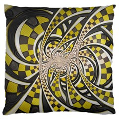 Liquid Taxi Cab, A Yellow Checkered Retro Fractal Standard Flano Cushion Case (two Sides) by jayaprime