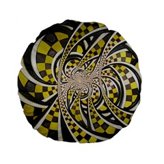 Liquid Taxi Cab, A Yellow Checkered Retro Fractal Standard 15  Premium Flano Round Cushions by jayaprime