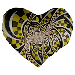 Liquid Taxi Cab, A Yellow Checkered Retro Fractal Large 19  Premium Flano Heart Shape Cushions by jayaprime