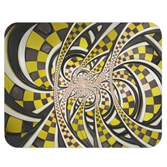 Liquid Taxi Cab, A Yellow Checkered Retro Fractal Double Sided Flano Blanket (medium)  by jayaprime