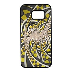 Liquid Taxi Cab, A Yellow Checkered Retro Fractal Samsung Galaxy S7 Black Seamless Case by jayaprime