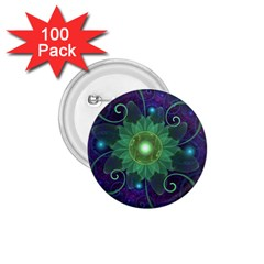 Glowing Blue Green Fractal Lotus Lily Pad Pond 1 75  Buttons (100 Pack)