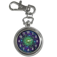 Glowing Blue Green Fractal Lotus Lily Pad Pond Key Chain Watches by jayaprime