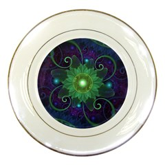 Glowing Blue Green Fractal Lotus Lily Pad Pond Porcelain Plates by jayaprime