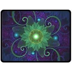 Glowing Blue Green Fractal Lotus Lily Pad Pond Fleece Blanket (large)  by jayaprime
