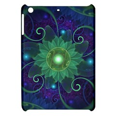 Glowing Blue Green Fractal Lotus Lily Pad Pond Apple Ipad Mini Hardshell Case by jayaprime