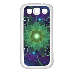 Glowing Blue Green Fractal Lotus Lily Pad Pond Samsung Galaxy S3 Back Case (white) by jayaprime