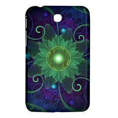 Glowing Blue Green Fractal Lotus Lily Pad Pond Samsung Galaxy Tab 3 (7 ) P3200 Hardshell Case  by jayaprime