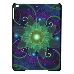 Glowing Blue Green Fractal Lotus Lily Pad Pond Ipad Air Hardshell Cases by jayaprime
