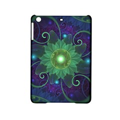 Glowing Blue Green Fractal Lotus Lily Pad Pond Ipad Mini 2 Hardshell Cases by jayaprime