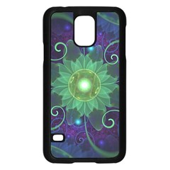 Glowing Blue Green Fractal Lotus Lily Pad Pond Samsung Galaxy S5 Case (black) by jayaprime