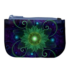 Glowing Blue Green Fractal Lotus Lily Pad Pond Large Coin Purse by jayaprime