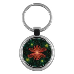 Beautiful Red Passion Flower In A Fractal Jungle Key Chains (round)  by jayaprime