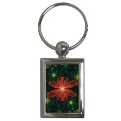 Beautiful Red Passion Flower In A Fractal Jungle Key Chains (rectangle)  by jayaprime