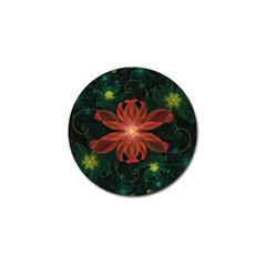 Beautiful Red Passion Flower In A Fractal Jungle Golf Ball Marker by jayaprime