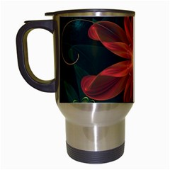 Beautiful Red Passion Flower In A Fractal Jungle Travel Mugs (white) by jayaprime