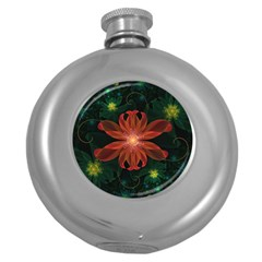 Beautiful Red Passion Flower In A Fractal Jungle Round Hip Flask (5 Oz) by jayaprime