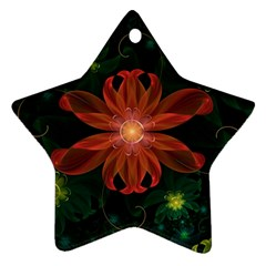 Beautiful Red Passion Flower In A Fractal Jungle Star Ornament (two Sides) by jayaprime