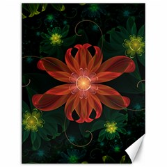 Beautiful Red Passion Flower In A Fractal Jungle Canvas 12  X 16   by jayaprime