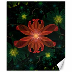 Beautiful Red Passion Flower In A Fractal Jungle Canvas 20  X 24   by jayaprime