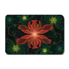 Beautiful Red Passion Flower In A Fractal Jungle Small Doormat  by jayaprime