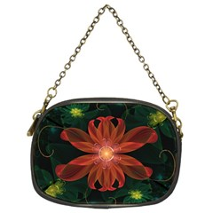 Beautiful Red Passion Flower In A Fractal Jungle Chain Purses (two Sides)  by jayaprime