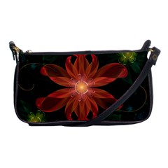 Beautiful Red Passion Flower In A Fractal Jungle Shoulder Clutch Bags by jayaprime