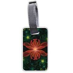 Beautiful Red Passion Flower In A Fractal Jungle Luggage Tags (one Side)  by jayaprime