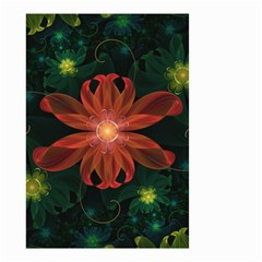 Beautiful Red Passion Flower In A Fractal Jungle Small Garden Flag (two Sides) by jayaprime