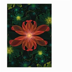 Beautiful Red Passion Flower In A Fractal Jungle Large Garden Flag (two Sides) by jayaprime