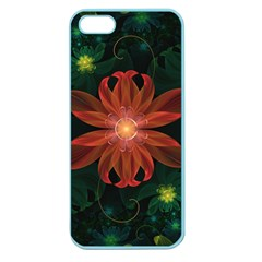 Beautiful Red Passion Flower In A Fractal Jungle Apple Seamless Iphone 5 Case (color) by jayaprime
