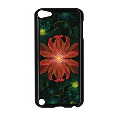 Beautiful Red Passion Flower In A Fractal Jungle Apple Ipod Touch 5 Case (black) by jayaprime