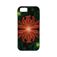 Beautiful Red Passion Flower In A Fractal Jungle Apple Iphone 5 Classic Hardshell Case (pc+silicone) by jayaprime