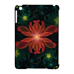 Beautiful Red Passion Flower In A Fractal Jungle Apple Ipad Mini Hardshell Case (compatible With Smart Cover) by jayaprime