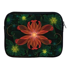 Beautiful Red Passion Flower In A Fractal Jungle Apple Ipad 2/3/4 Zipper Cases by jayaprime