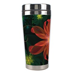 Beautiful Red Passion Flower In A Fractal Jungle Stainless Steel Travel Tumblers by jayaprime