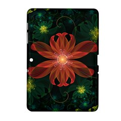 Beautiful Red Passion Flower In A Fractal Jungle Samsung Galaxy Tab 2 (10 1 ) P5100 Hardshell Case  by jayaprime