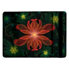 Beautiful Red Passion Flower In A Fractal Jungle Samsung Galaxy Tab Pro 12 2  Flip Case by jayaprime