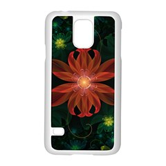 Beautiful Red Passion Flower In A Fractal Jungle Samsung Galaxy S5 Case (white) by jayaprime