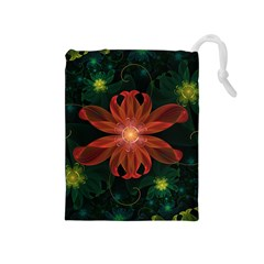 Beautiful Red Passion Flower In A Fractal Jungle Drawstring Pouches (medium)  by jayaprime