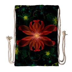 Beautiful Red Passion Flower In A Fractal Jungle Drawstring Bag (large) by jayaprime
