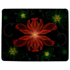 Beautiful Red Passion Flower In A Fractal Jungle Jigsaw Puzzle Photo Stand (rectangular) by jayaprime