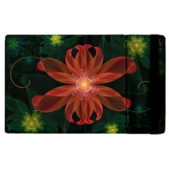 Beautiful Red Passion Flower In A Fractal Jungle Apple Ipad Pro 9 7   Flip Case