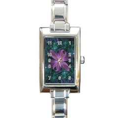 Pink And Turquoise Wedding Cremon Fractal Flowers Rectangle Italian Charm Watch by jayaprime