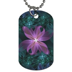 Pink And Turquoise Wedding Cremon Fractal Flowers Dog Tag (two Sides) by jayaprime