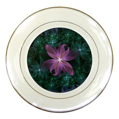 Pink And Turquoise Wedding Cremon Fractal Flowers Porcelain Plates by jayaprime
