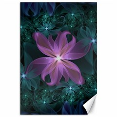 Pink And Turquoise Wedding Cremon Fractal Flowers Canvas 12  X 18   by jayaprime