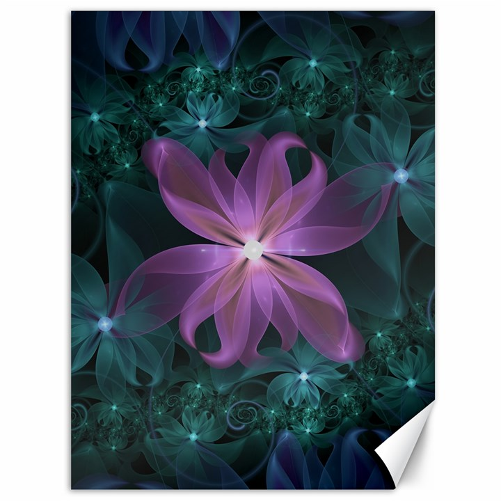 Pink and Turquoise Wedding Cremon Fractal Flowers Canvas 36  x 48